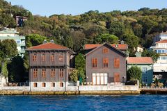 Traditional and modern mansions on the Bosporus Royalty Free Stock Images