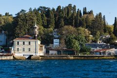 Traditional and modern mansions on the Bosporus Royalty Free Stock Photos