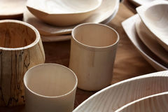 Traditional and Modern Wooden Tableware Royalty Free Stock Photo