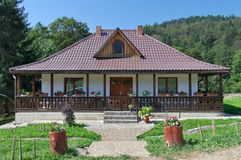 Traditional Moldavian house with porch and garden - Romania Stock Images