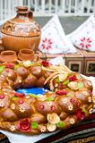 Traditional moldavian round loaf Stock Images