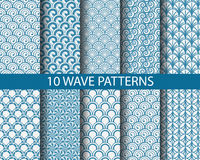 Traditional monachrome wave patterns Royalty Free Stock Images