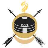 Traditional mongol yurt. Stylized vector illustration. Flat emblem  on white background Stock Images
