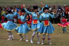 Traditional Mongolian dances stock images