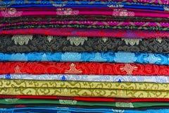 Traditional Mongolian fabrics Stock Photos