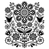 Scandinavian vector folk art pattern, floral retro ornament design, Nordic style black and white ethnic decoration. Traditional monochrome embroidery with Royalty Free Stock Photography