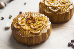 Traditional moon cakes. To celebrate mid autumn festival Stock Images