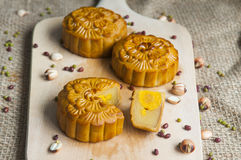 Traditional moon cakes. To celebrate mid autumn festival Royalty Free Stock Photo