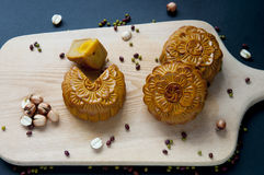 Traditional moon cakes. To celebrate mid autumn festival Royalty Free Stock Photography