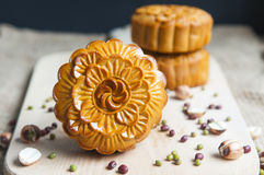 Traditional moon cakes. To celebrate mid autumn festival Stock Photos
