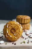 Traditional moon cakes. To celebrate mid autumn festival Stock Photo