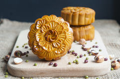 Traditional moon cakes. To celebrate mid autumn festival Royalty Free Stock Photos