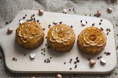 Traditional moon cakes. To celebrate mid autumn festival Stock Image
