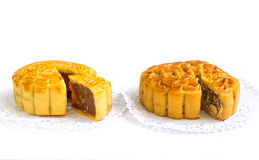 Traditional mooncake on paper doily Stock Images