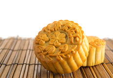 Traditional mooncakes on bamboo mat Stock Photography