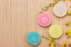 Traditional mooncakes on table setting. Snowy skin mooncakes. Ch Royalty Free Stock Image
