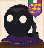 Traditional Moretta Mask over Display Pillow for Venice Carnival, Vector Illustration. Poster exhibiting traditional moretta meaning `dark one` mask used for a Royalty Free Stock Images