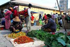 Traditional morning Myanmar market. Royalty Free Stock Images