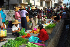 Traditional morning Myanmar market. Royalty Free Stock Photography