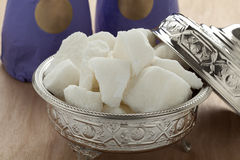 Traditional Moroccan bowl with sugar stock images