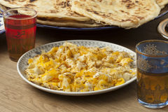 Traditional Moroccan breakfast with scrambled eggs Stock Photos