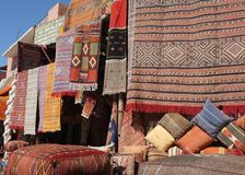 Traditional Moroccan Carpet Shop Stock Photo