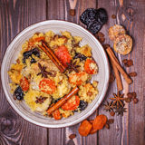 Traditional moroccan chicken with dried fruits and spices. Stock Photography