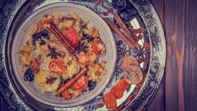 Traditional moroccan chicken with dried fruits and spices. Royalty Free Stock Images