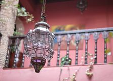 Free Traditional Moroccan Glass Copper Lamp In Oriental Riad Interior Royalty Free Stock Photography - 109748397
