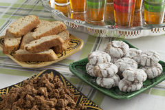 Traditional Moroccan homemade cookies and sellou Royalty Free Stock Photos