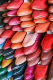 Traditional Moroccan leather slippers, Fes, Morocco. stock photos