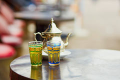 Traditional Moroccan mint tea in a cafe of Marrakech Royalty Free Stock Images