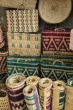 Traditional moroccan objects. Traditional Moroccan baskets and other objects in market Stock Photos