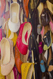 Traditional Moroccan shoes in a bazaar of Fez Stock Photography