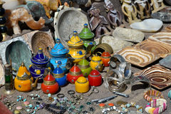 Traditional Moroccan souvenirs. For sale on the street Stock Photos