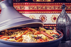 Traditional moroccan tajine of chicken with dried fruits and spi Royalty Free Stock Images