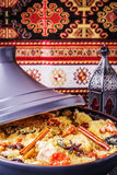 Traditional moroccan tajine of chicken with dried fruits and spi Royalty Free Stock Image