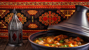 Traditional moroccan tajine of chicken with salted lemons, olive Stock Photo