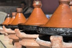 Traditional Moroccan Tajine pottery Stock Photos