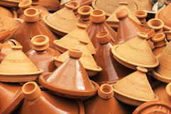 The traditional moroccan tajines - earthenware pot for cooking Stock Image