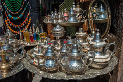 Traditional moroccan teapots. On market Stock Photo