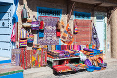Traditional moroccan textile. On the market in chefchaouen, Morocco Royalty Free Stock Photo