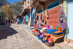 Traditional moroccan textile. On the market in chefchaouen, Morocco Royalty Free Stock Image