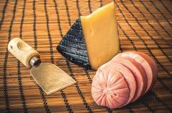 Traditional Mortadella with Pecorino cheese (italian food) Royalty Free Stock Photo