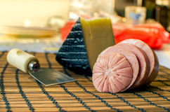 Traditional Mortadella with Pecorino cheese (italian food) Royalty Free Stock Images
