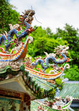 Traditional mosaic dragons on roof of the Linh Ung Pagoda Royalty Free Stock Image