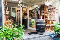 Traditional Mosel wine shop in Germany. Cochem, Germany - July 5, 2017: Entrance of traditional Mosel wine shop in Cochem, popular wine and holiday resort in