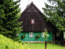 Traditional mountain chalet, natural brown and green front. Traditional mountain chalet, cottage or hut made of wood surrounded by spruce trees, painted green Stock Photos