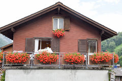 Traditional mountain chalet at Urnerboden on the Swiss alps. Urnerboden, Switzerland - 3 August 2017: Traditional mountain chalet at Urnerboden on the Swiss alps Stock Photos