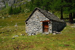 Traditional mountain hut, Italian Alps Royalty Free Stock Photos